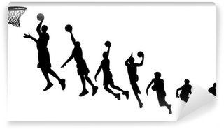 Wall Mural - Vinyl Basketball sequence silhouettes