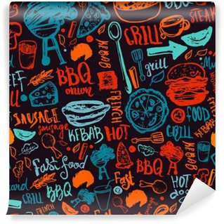 Wall Mural - Vinyl BBQ Barbecue Grill Doodle Seamless Pattern. Colorful BBQ design with hand drawn lettering for wrapping, banners and promotion.
