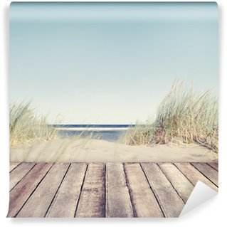 Wall Mural - Vinyl Beach and Wooden Plank