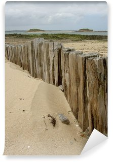 Wall Mural - Vinyl beach & weathered wooden pole