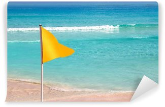 Wall Mural - Vinyl beach yellow flag weather indication signal