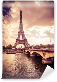 Wall Mural - Vinyl Beautiful Eiffel Tower in Paris France under golden light