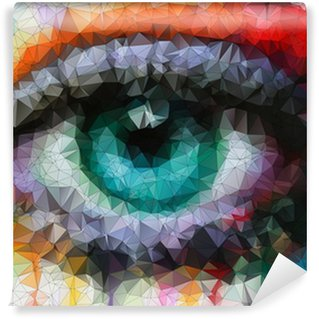 Wall Mural - Vinyl beautiful eye in geometric styling abstract geometric background