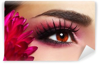 Beautiful Eye Makeup with Aster Flower Wall Mural - Vinyl