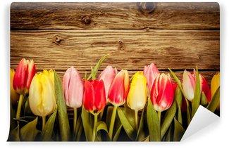 Beautiful fresh tulip border on rustic wood Wall Mural - Vinyl