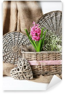 Beautiful hyacinth flower in wicker basket, Wall Mural - Vinyl