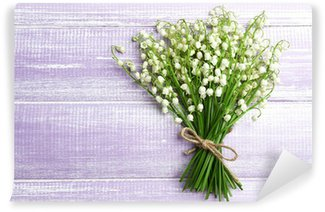 Beautiful lilies of the valley on wooden background Wall Mural - Vinyl