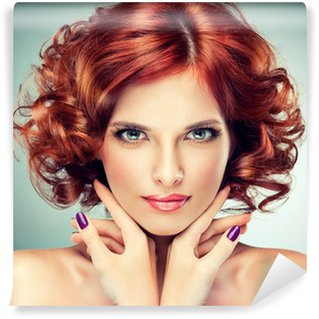 Wall Mural - Vinyl Beautiful model red with curly hair