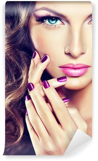 Wall Mural - Vinyl beautiful model with curly hair and purple manicure