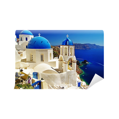 Beautiful santorini view of caldera with churches wall for Caldera mural bosch