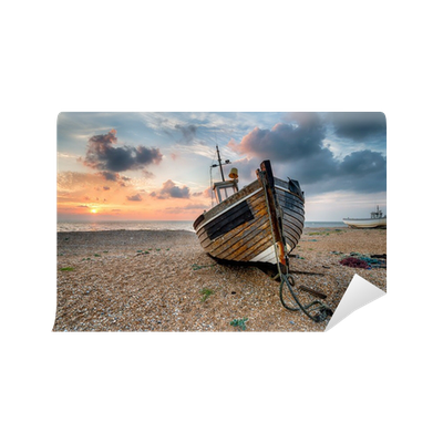 Beautiful Sunrise Over Wooden Boat Wall Mural O PixersR We Live To Change