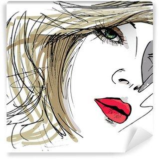 Wall Mural - Vinyl Beautiful Woman face illustration