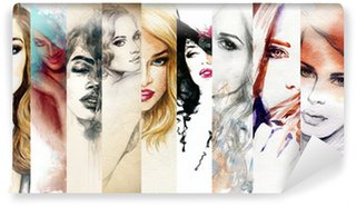 Beautiful woman face. watercolor illustration Wall Mural - Vinyl