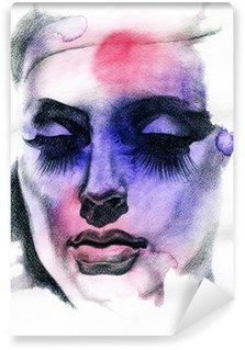 Wall Mural - Vinyl Beautiful woman. Hand painted fashion illustration