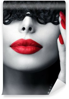 Wall Mural - Vinyl Beautiful Woman with Black Lace Mask over her Eyes