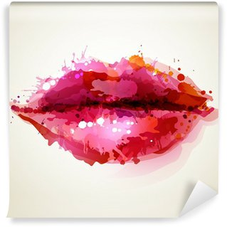 Wall Mural - Vinyl Beautiful womans lips formed by abstract blots