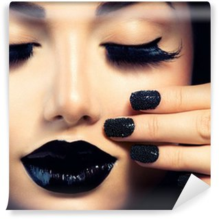 Wall Mural - Vinyl Beauty Fashion Girl with Trendy Caviar Black Manicure and Makeup