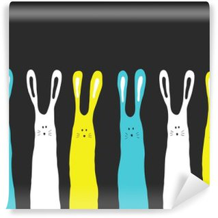 Wall Mural - Vinyl Big colors rabbits background, vector illustration