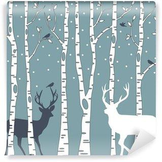 birch trees with deer, vector background Wall Mural - Vinyl
