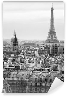 Wall Mural - Vinyl Black and White Aerial View of Paris with Eiffel Tower