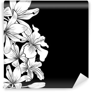 Black and white background with white flowers