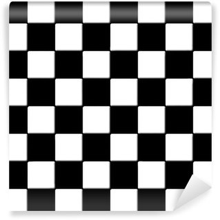 Wall Mural - Vinyl Black and white checkered tiles texture