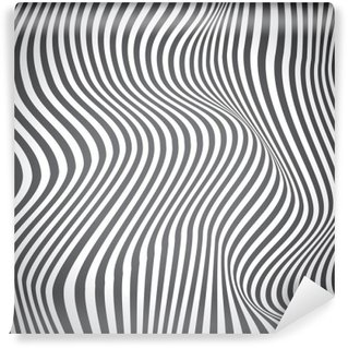 Black and white curved lines, surface waves, vector design Wall Mural - Vinyl
