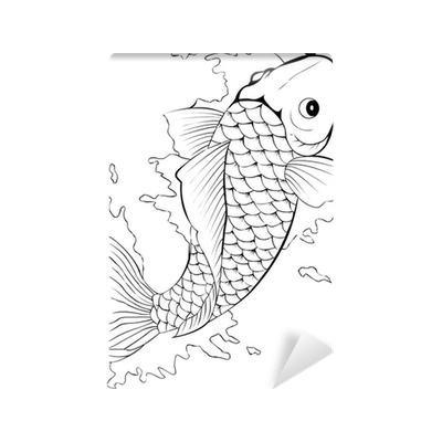 Black and white koi fish tattoo wall mural pixers we for Black and white koi fish