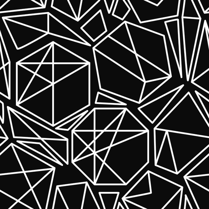 Vinyl Wall Mural Black and white vector geometric seamless pattern - Graphic Resources