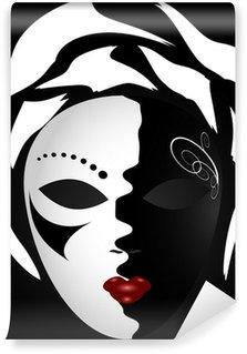 Wall Mural - Vinyl black-white mask