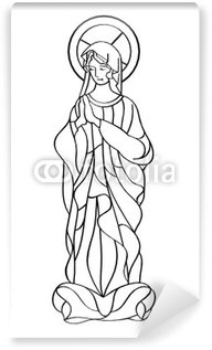 Blessed Virgin Mary in black and white contour drawing Wall Mural - Vinyl