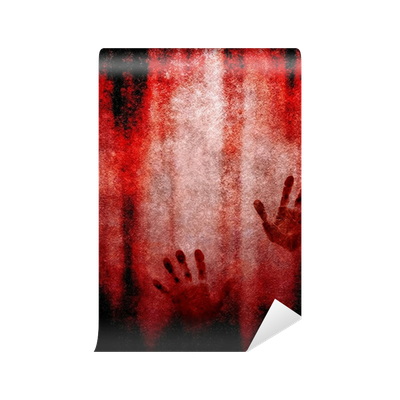 Bloody hand print on wall wall mural pixers we live for Bloody wall mural