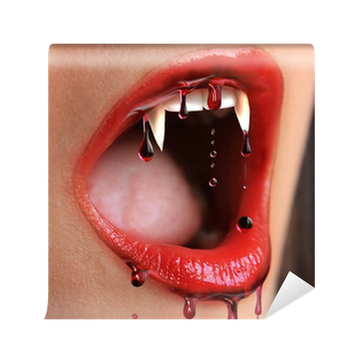 Bloody lips of female vampire wall mural pixers we for Bloody wall mural