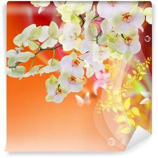 Bloom Spring beautiful Japanese Exotic Flowers.Floral Card Wall Mural - Vinyl