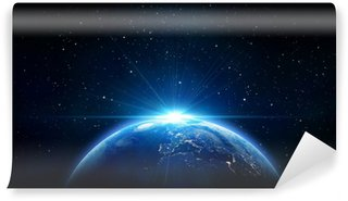 blue sunrise, view of earth from space Wall Mural - Vinyl