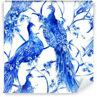Blue watercolor flower vintage seamless pattern with peacocks Wall Mural - Vinyl