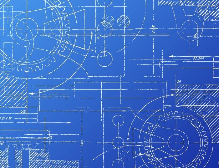 Blueprint Wall Mural - Vinyl ? Pixers? ? We live to change
