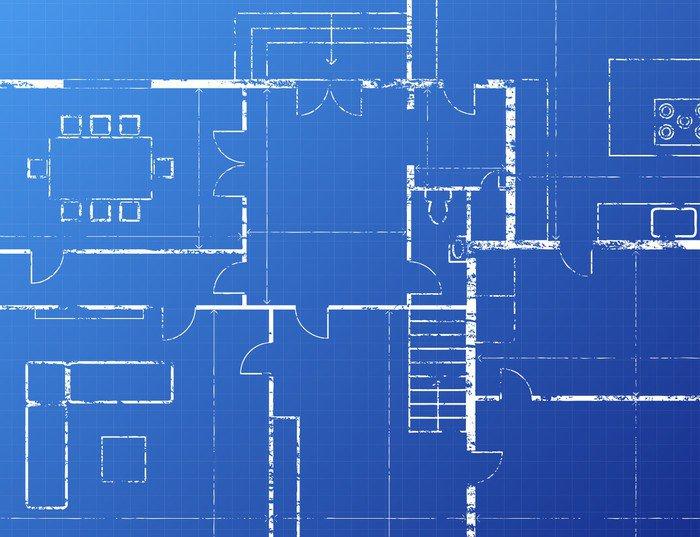 Grey Blueprint Love Modern Blue Wallpaper Printed Wall Paper