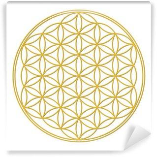 Blume des Lebens Gold mit Schatten Wall Mural - Vinyl