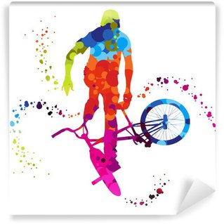 Wall Mural - Vinyl bmx with colored dots