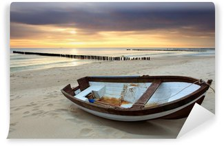 Wall Mural - Vinyl Boat on beautiful beach in sunrise