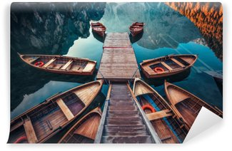 Boats on a lake in Italy Vinyl Wall Mural