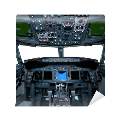 Boeing interior cockpit view inside the airliner wall for Cockpit wall mural