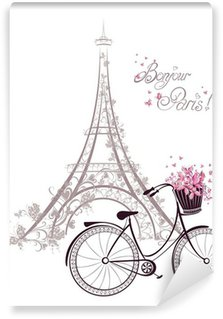 Vinyl Wall Mural Bonjour Paris text with Eiffel Tower and bicycle