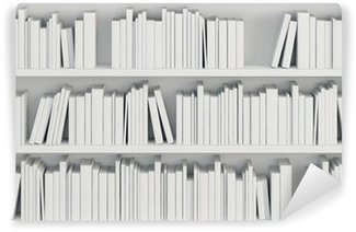 Wall Mural - Vinyl bookcase with white books