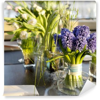 bouquet of hyacinth in vase of glass.