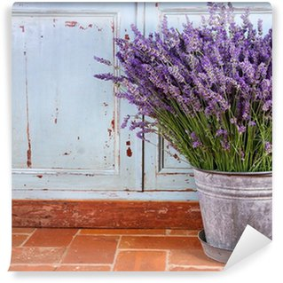 Bouquet of lavender in a rustic setting Wall Mural - Vinyl