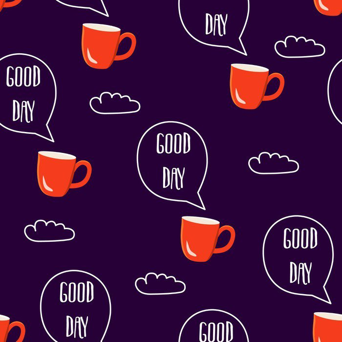 Vinyl Wall Mural Breakfast seamless pattern. Vector illustration with text clouds and cups of coffee - Food