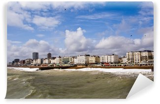 Vinyl Wall Mural Brighton skyline showing the coast and stormy sea.