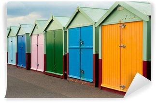 Vinyl Wall Mural Brighton UK four beach colour huts